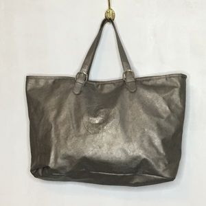 Vince Camuto Silver Large Logo Vegan Leather Tote